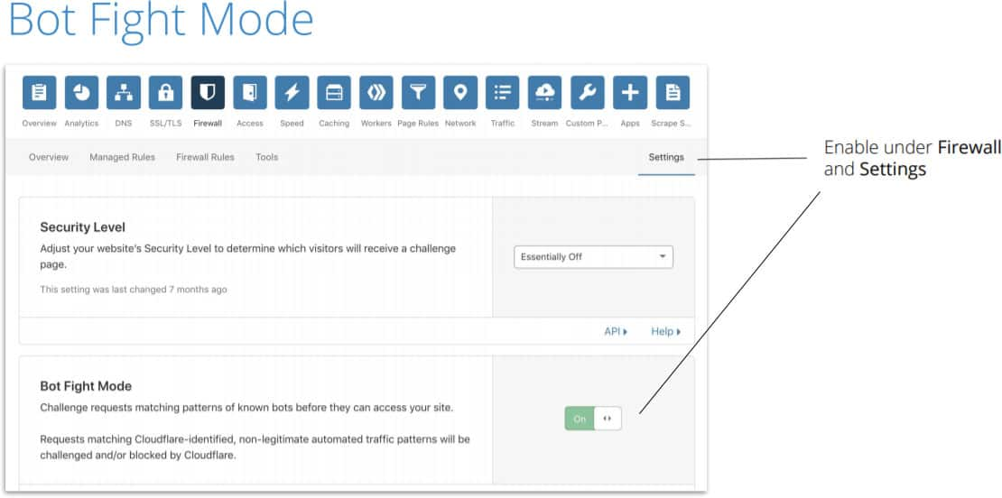 Cloudflare how to enable fight bot mode