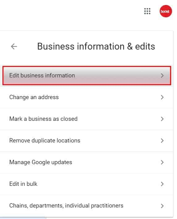 Step 4: Select Edit Business Info