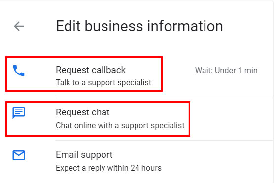 how to request a callback-from Google My Business