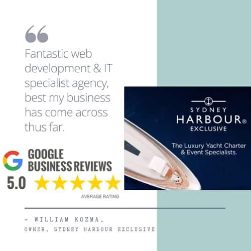 """Sydney Harbour review - """"Fantastic web development & IT specialist agency, best my business has come across thus far Sydney Harbour Exclusive"""""""